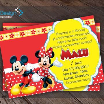 Convite de Aniversário Mickey e Minnie
