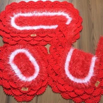 Jogo de banheiro croche decore rendado vermelho e branco