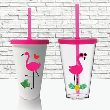 Copo com tampa e canudo Personalizado Flamingo