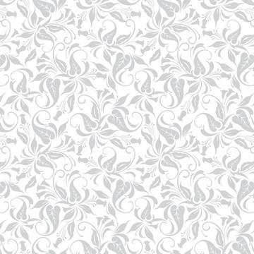 Papel de Parede Floral Neutro Tons Cinza e Branco Delicado