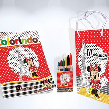 Kit de Colorir Minnie Vermelha Revista Sacola Giz