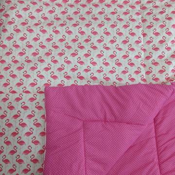 Edredom Solteiro Flamingos e Pink