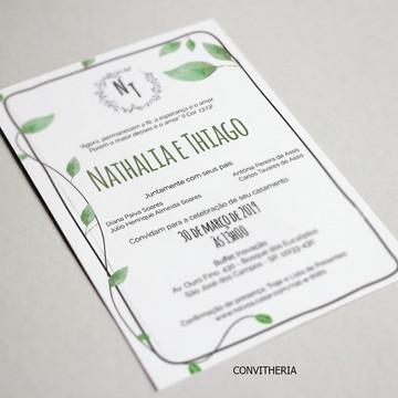C34: Convite de Casamento Folhas