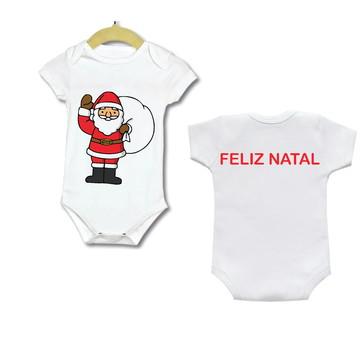 Body Bebe Infantil roupinha feliz Natal papai Noel