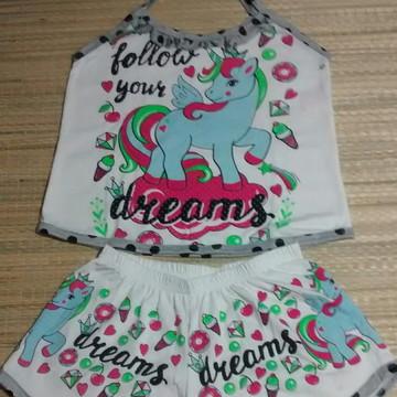 Pijama Infantil Unicórnio