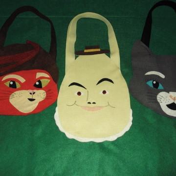 sacola gato de botas, kitty, ovo lembrancinha gato de botas