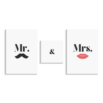 Conjunto Quadros Mr e Mrs 50x105cm - Kit Mosaico