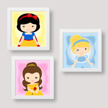 Kit de quadrinhos decorativos Princesas