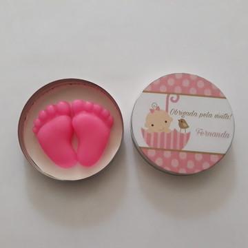 Lembrancinha sabonete pezinho para maternidade