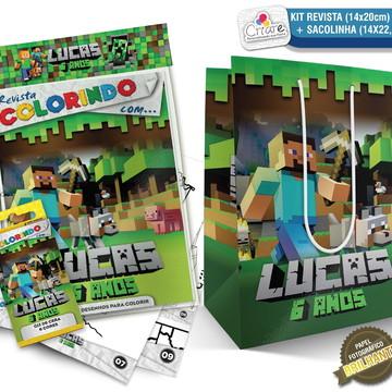 Sacolinha + Kit de colorir PERSONALIZADO - Minecraft