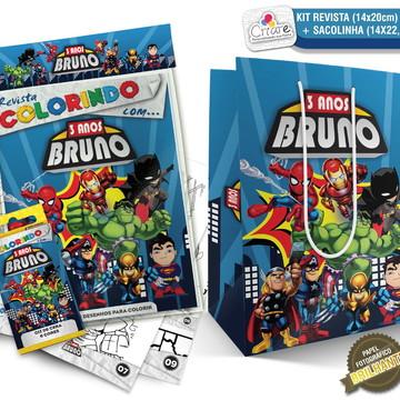 Sacolinha + Kit de colorir PERSONALIZADO - Super Heróis Kids