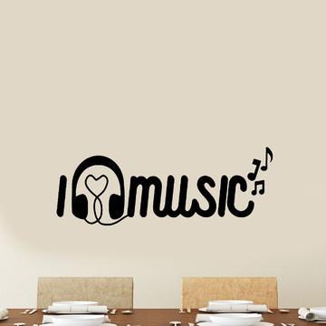 Adesivo de Parede - I Love Music - Notas Musicais