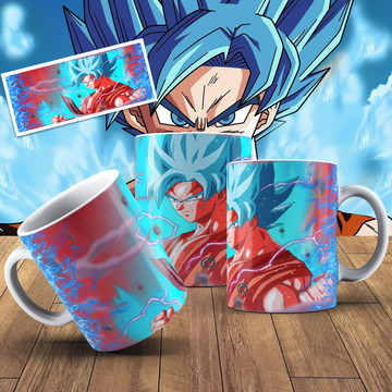 Caneca Dragon Ball Goku Super Sayajin Blue Caneca Anime Geek