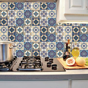 Papel De Parede Adesivo Azulejo Cozinha Azul Mod10 Império