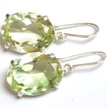 Brinco Prata Pedra Berilo Heliodoro Verde Amarelado Natural