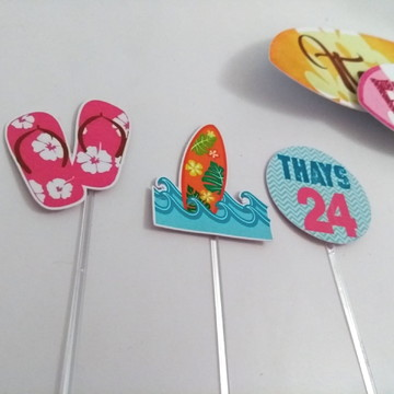 Kit 40 Topper simples tema Surf