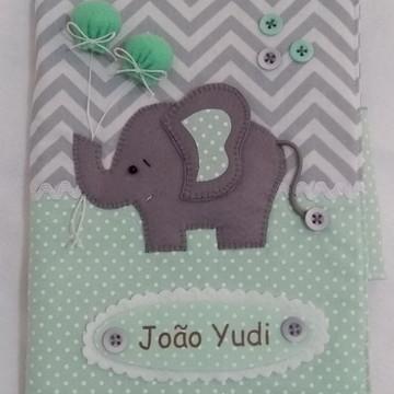Capa para caderneta de vacinação em tecido - Elefantinho