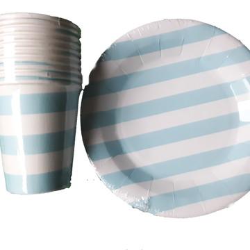 Kit 10 copo e 10 prato de papel azul listrado