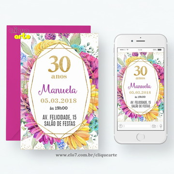 Convite Digital de Aniversário 30 anos