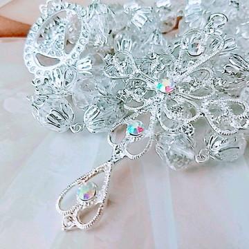 Terços para noivas prateado de cristal tcheco boreal