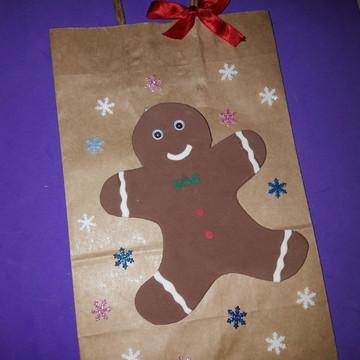 Sacola de natal-biscoito gengibre