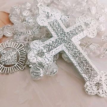 Terços para noiva prateado Nossa Senhora Aparecida