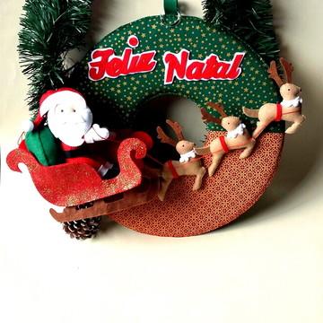 Guirlanda de Natal em Feltro e Tecido Papai Noel e Renas