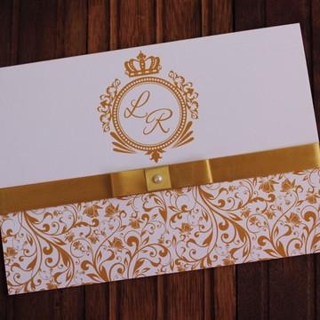 Convite Casamento dourado - Convite 15 anos muito barato