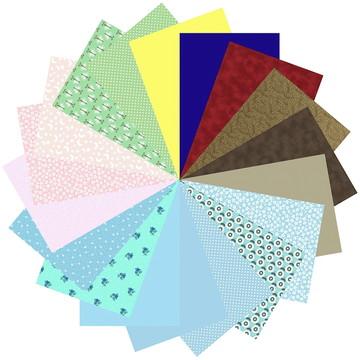 Kit Tecidos Patchwork Multicolorido 64 #18 25cm x 35cm