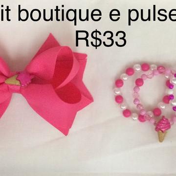 Kit laço Boutique e pulseiras