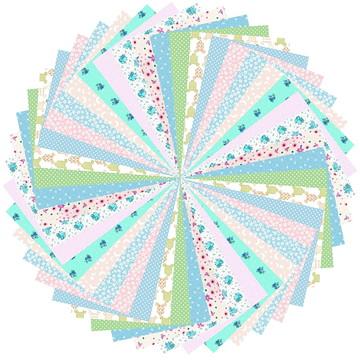 Kit Tecidos Patchwork Cor Pastel Multicolorido 68 #44 25x35