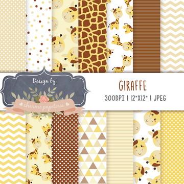 Kit papel digital Girafa   Papéis Digitais Girafinha