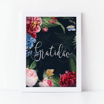 Quadro Poster com Moldura Frase Gratidão decoração casa