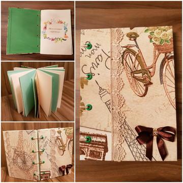 Caderno sem linha em tecido Paris
