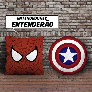 Kit 2 Almofadas Vingadores Homem Aranha + Escudo Cap América