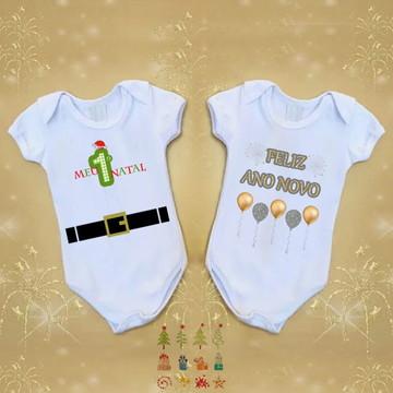 Kit Body Natal e Ano Novo Personalizado Bebe