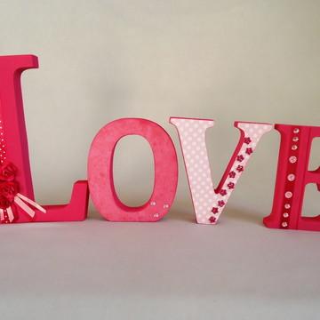 Letras em MDF Decoradas LOVE I