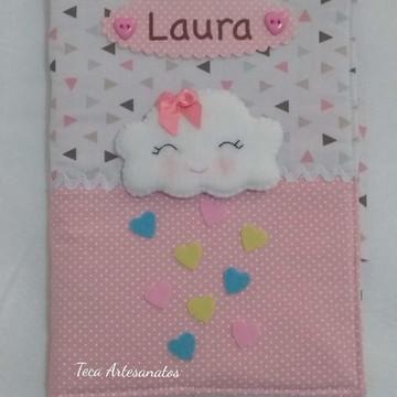 Capa para caderneta de vacinação em tecido - Chuva de Amor