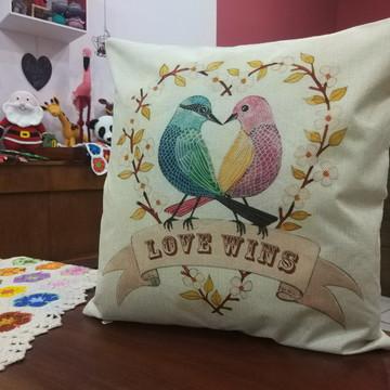 Capa De Almofada Pássaros em Love