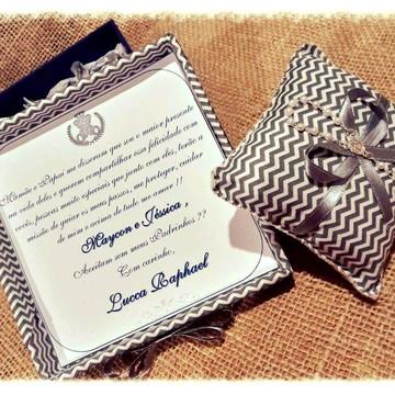 Caixa convite padrinhos - cinza/Chevron