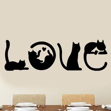 Adesivo de Parede - Gatos Love
