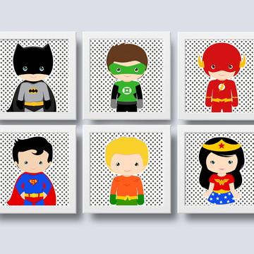 Quadrinhos Liga da Justiça para decoração de quarto