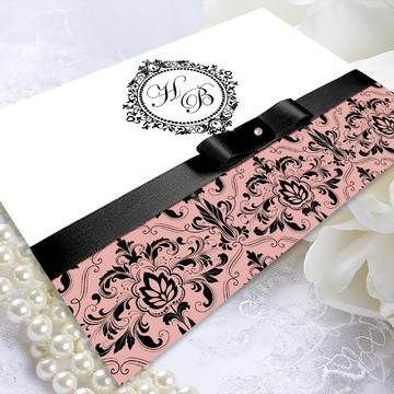Convite de Casamento Papel Couché Preto com Rose