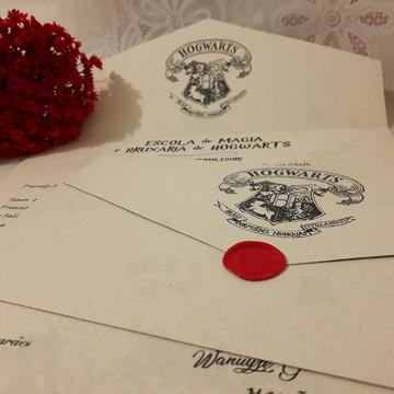 Convite Carta Hogwarts, Harry Potter, Lacre Cera