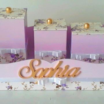 kit higiene floral lilás