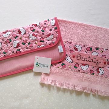 Kit porta escova e toalha de boca personalizada
