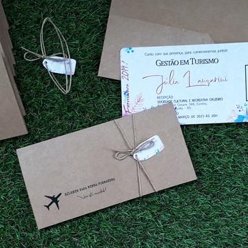 Convite Formatura com Envelope - Bilhete de Embarque Rústico