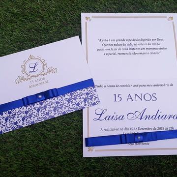 Convite 15 anos Azul Royal - Floral - Dourado Personalizado