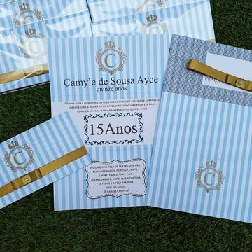 Convite 15 Anos Azul Com Dourado 3 Dobras Personalizado