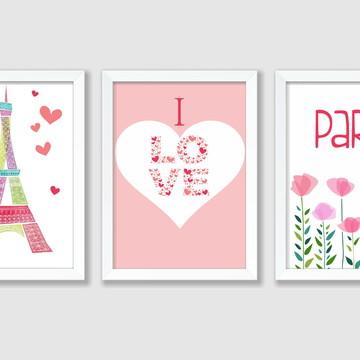 Quadro Infantil Menina Paris Love